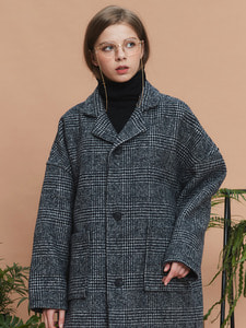 check over long coat (dark navy)