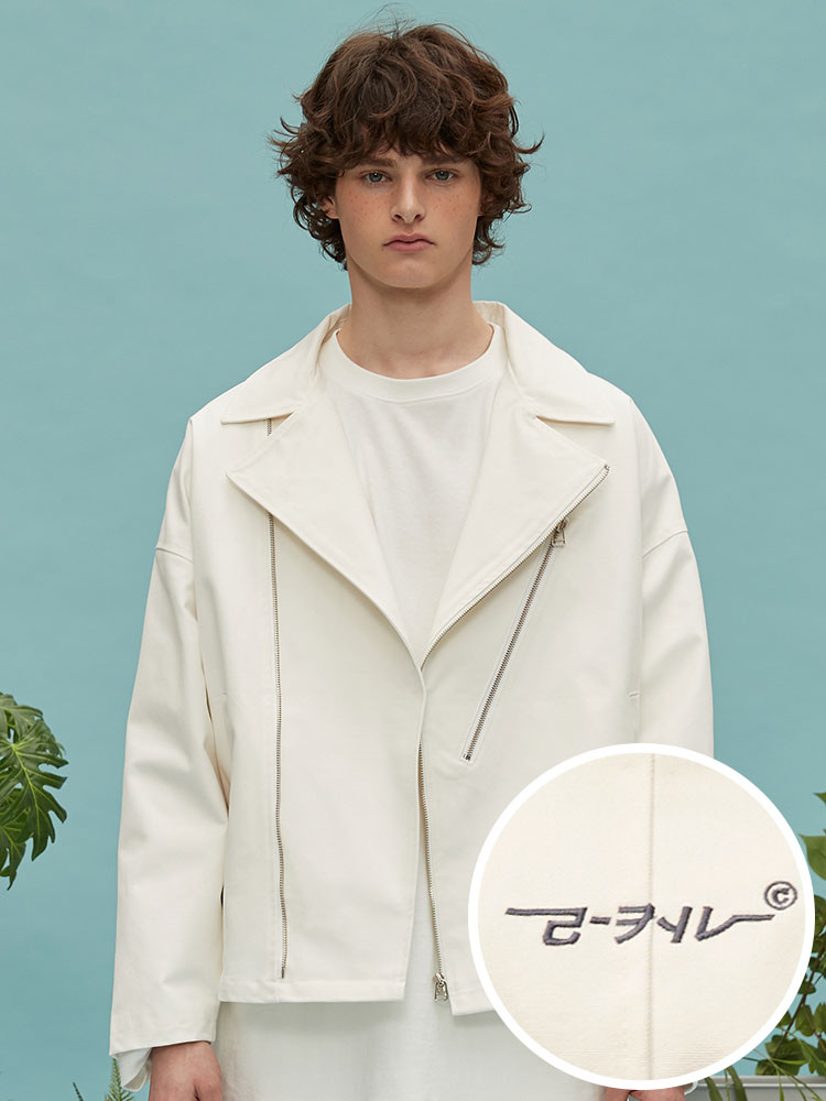 oversize cotton rider jacket (white)