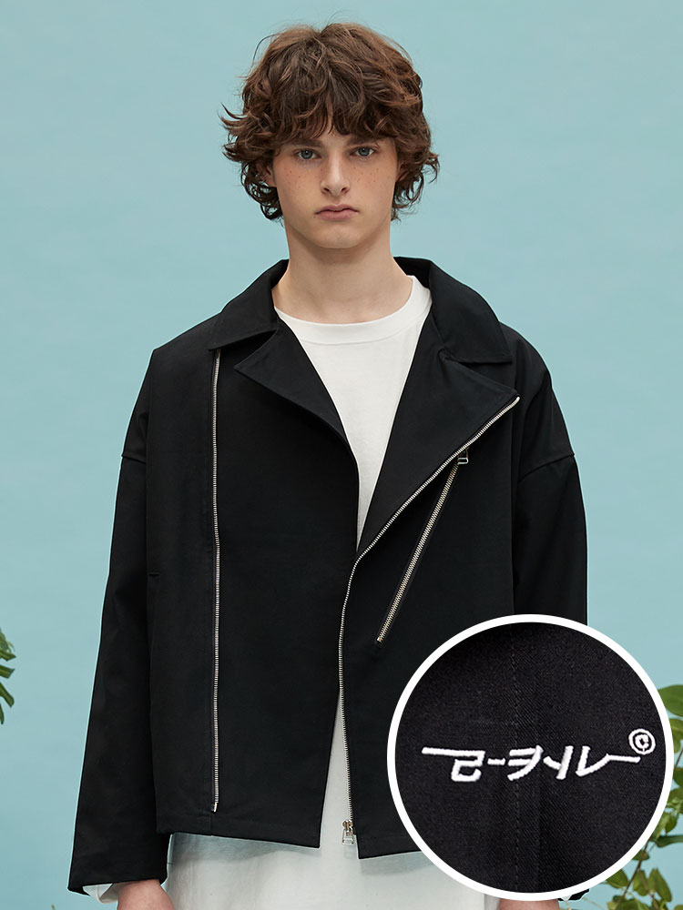 oversize cotton rider jacket (black)