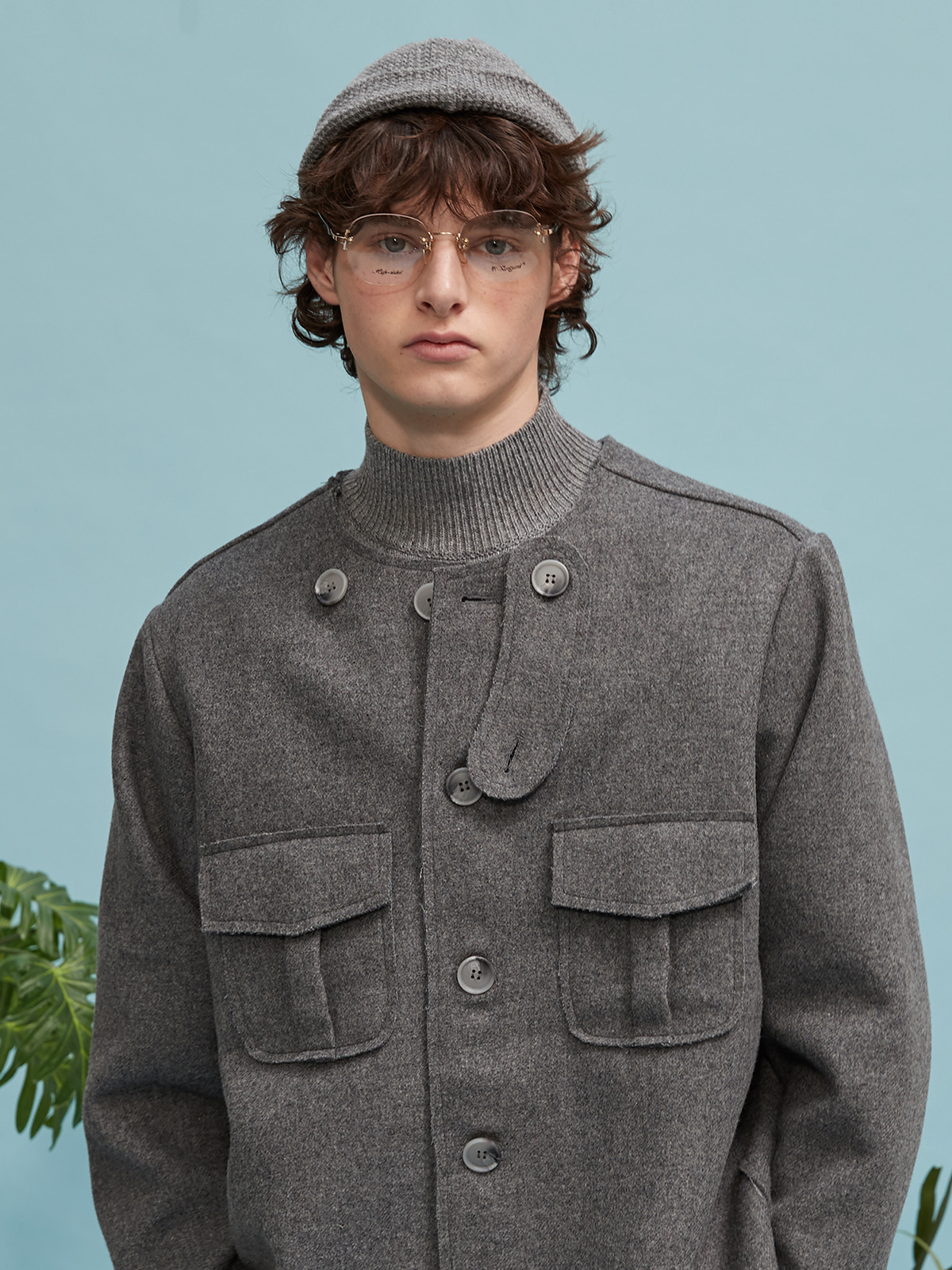 no collar half coat (gray)