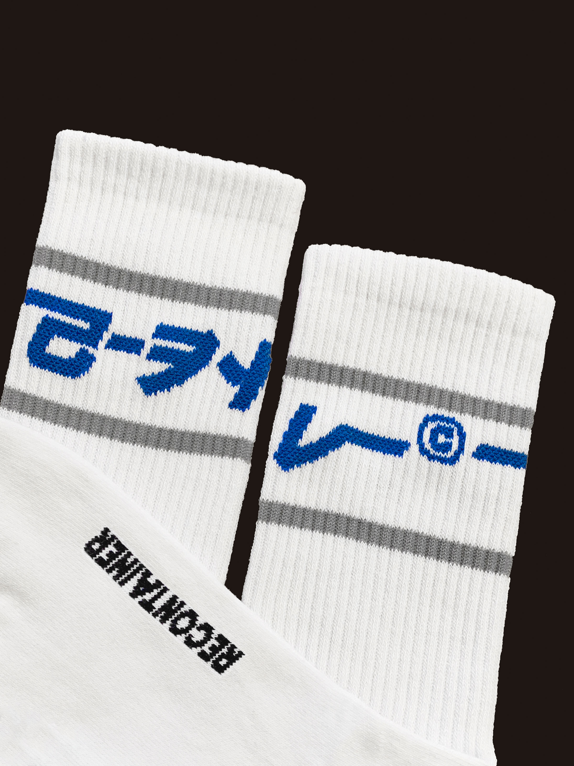 gray line socks (white)