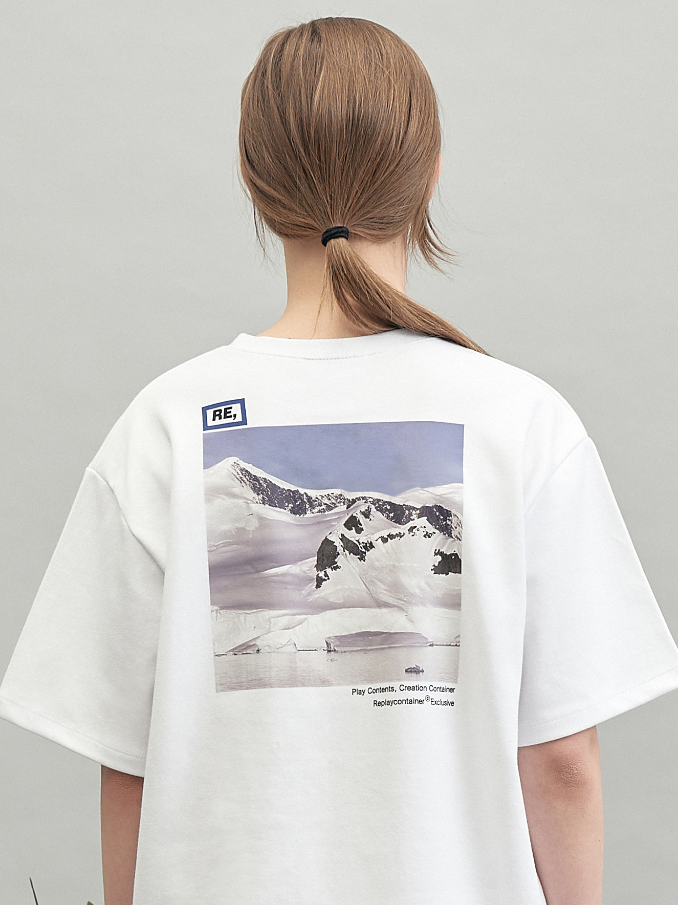 RE square campaign half tee (snow)