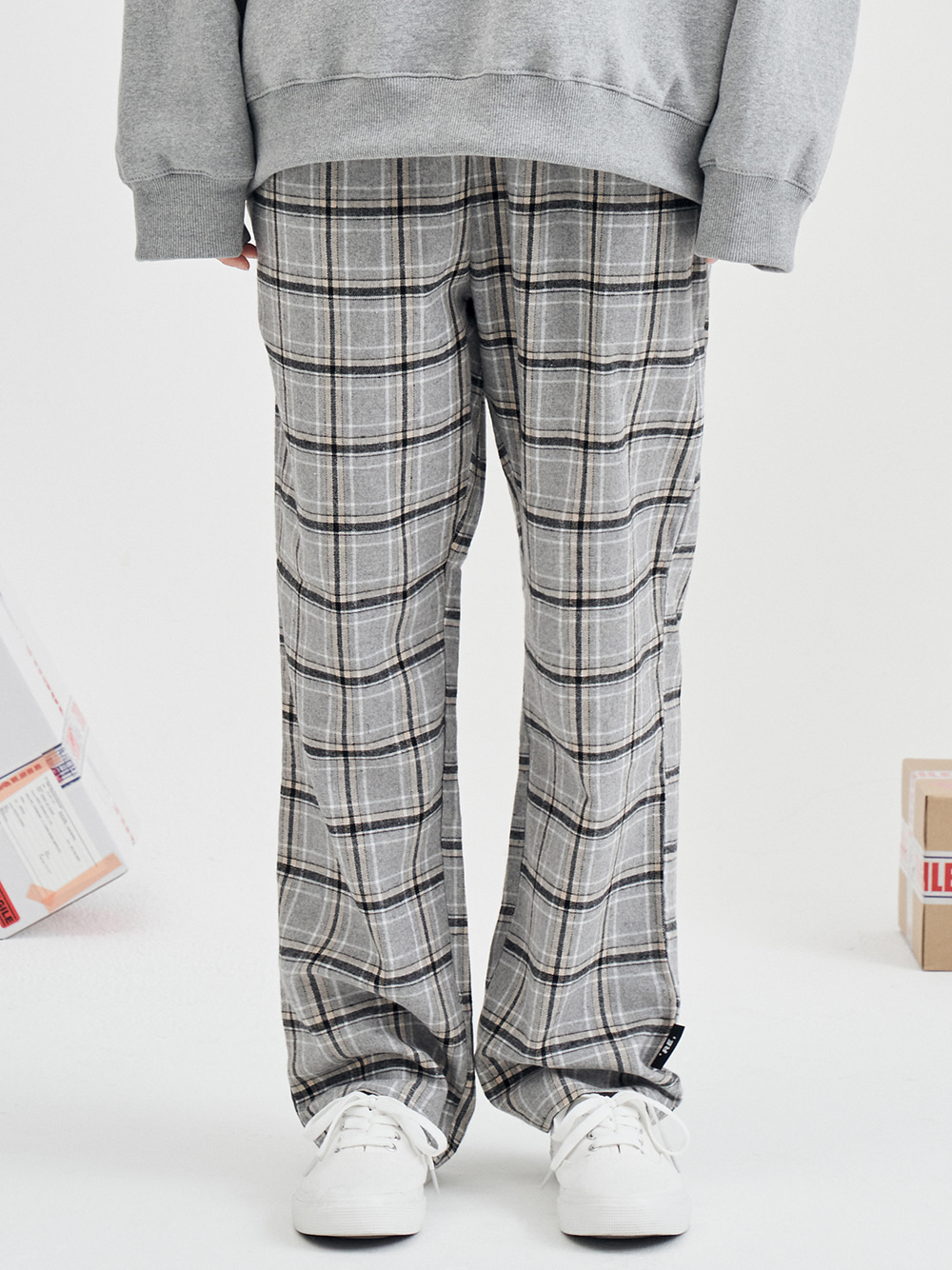 recon check pants (gray)