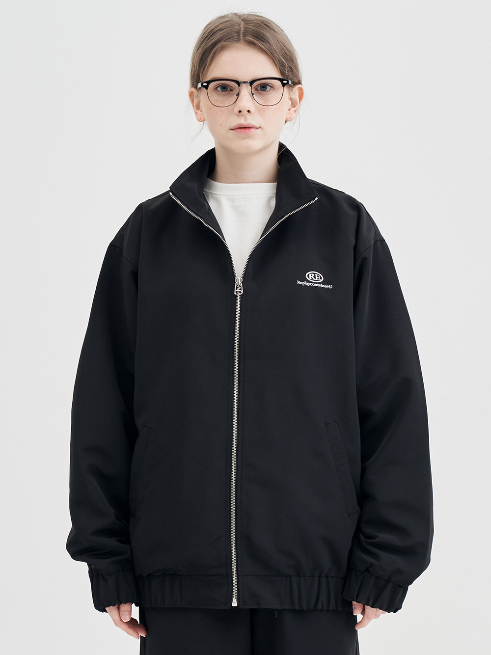 RE capsule logo track jacket (black)