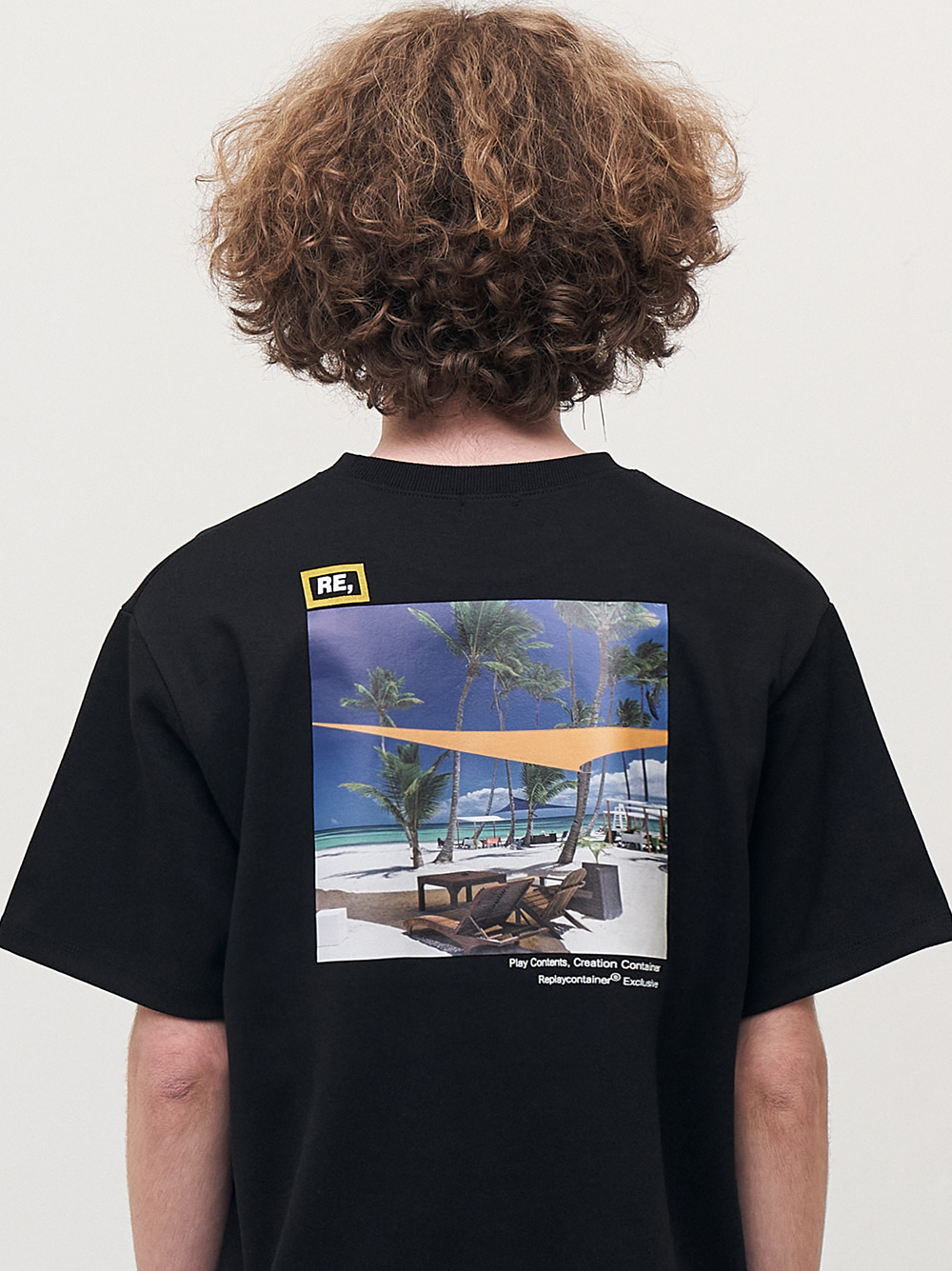 RE square black campaign half tee (beach)